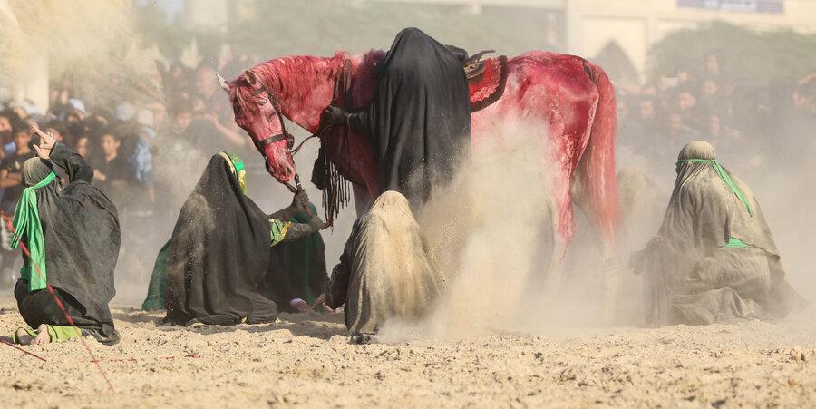 آیین تعزیه خوانی روز عاشورا امروز در امامزاده شاه کرم اصفهان